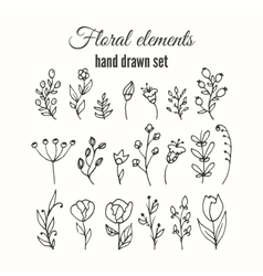 Floral decorative set herbs and wild vector