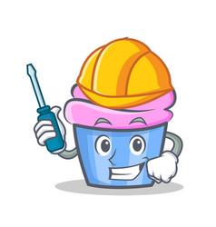 Automotive cupcake character cartoon style vector
