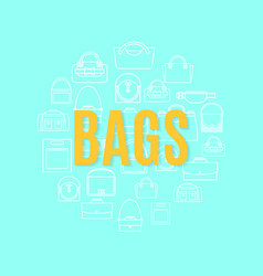 bags line icons in circle shape vector image