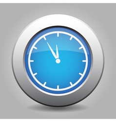 Blue metallic button white last minute clock icon vector