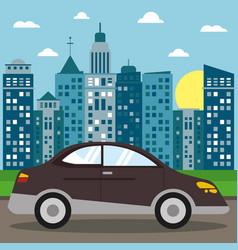 Car sedan transport city sun vector