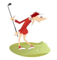 Cartoon young woman playing golf vector