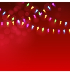 Christmas Red background with luminous garland vector image