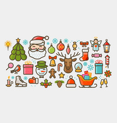 christmas set of icons or symbols xmas concept vector image