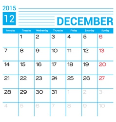 December 2015 calendar page template vector image