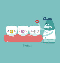 Dentist make braces tooth concept of dental vector