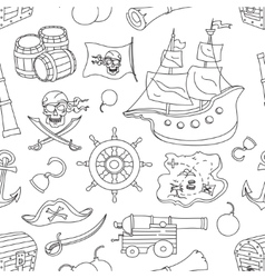 Doodle pattern set of pirates vector image