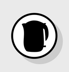 Electric kettle sign flat black icon in vector