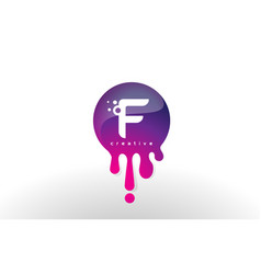 f letter splash logo purple dots and bubbles vector image