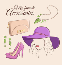 fashion set of a stylish vector image vector image