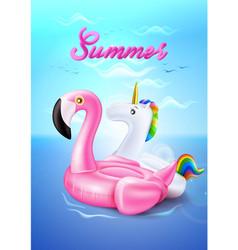 Flamingo unicorn inflatable ring on beach vector