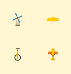 flat icons ornament loaf unicycle and other vector image vector image