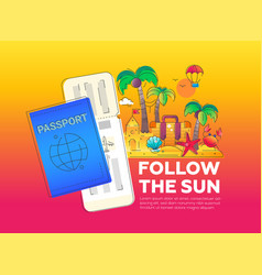 Follow the sun - line travel vector