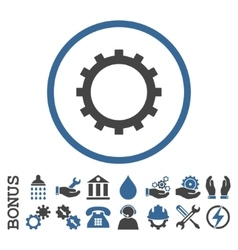 Gear Flat Rounded Icon with Bonus vector image