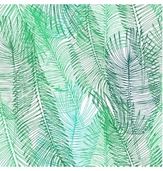 Hand drawn background of palm leaves vector image