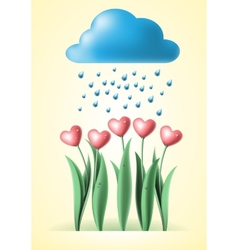 heart tulips vector image vector image