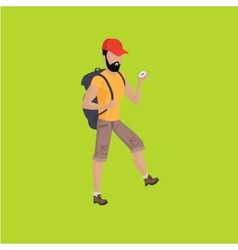 Hiker Traveller vector image vector image