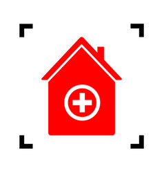 hospital sign red icon vector image vector image