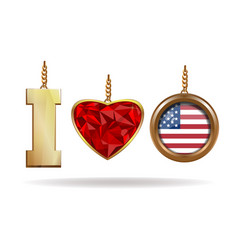 i love usa patriotic jewelry i love america vector image