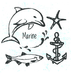 Ink hand drawn elements of marine world vector