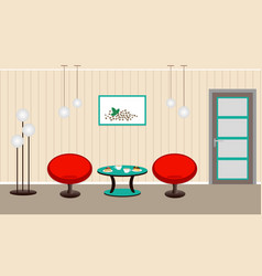 Living room interior with breakfast coffe and vector