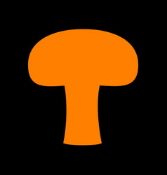 Mushroom simple sign orange icon on black vector