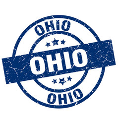 Ohio blue round grunge stamp vector