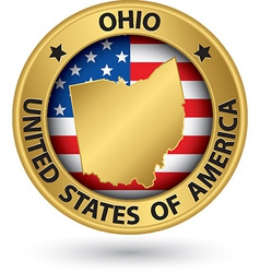 Ohio state gold label with state map vector