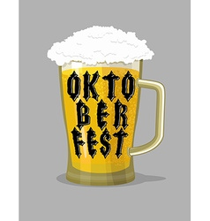 Oktoberfest typography mug beer and lettering vector