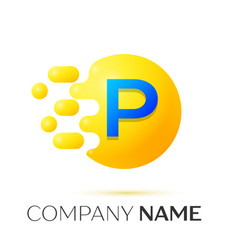 P letter splash yellow dots and circle bubble vector
