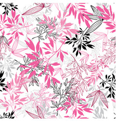 pink black tropical leaves summer seamless vector image