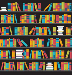 Seamless pattern with books on bookshelves flat vector
