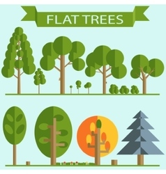 Set of Green Trees Flat Design vector image vector image