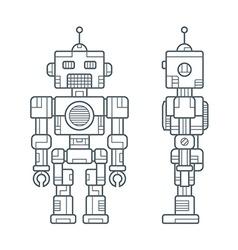 Simple Line Retro Robot vector image
