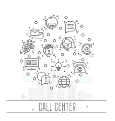 support service icons set - thin line call center vector image vector image