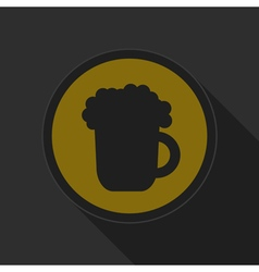 yellow round button - black beer with foam icon vector image