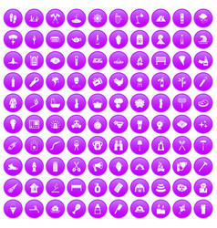 100 fire icons set purple vector
