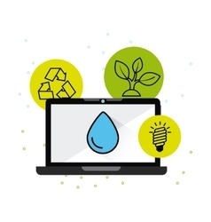 Ecology online technology flat icons vector