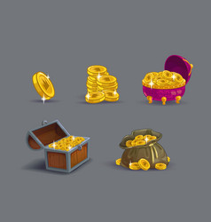 Cartoon golden coins icons set vector image