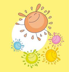 tender color sun funny mascot bubble shape sun vector image