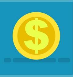 Big dollar symbol on gold coin icon cartoon style vector