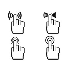 Pixel hands icon set vector