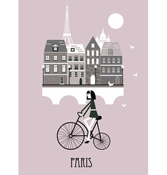 Girl on a bicycle in paris vector