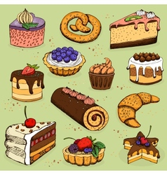 Pies and flour products for bakery pastry vector