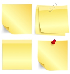 Yellow paper note set vector image