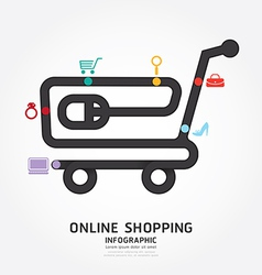Infographics online shopping design diagram vector