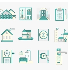 Flat blue icons for housing rent vector