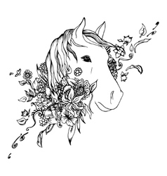Abstract graphic horse head print vector