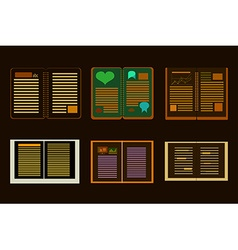 Sleek design a set of books modern style icons vector