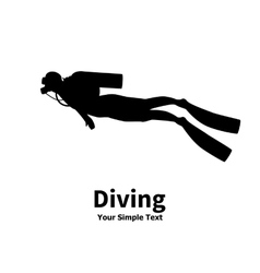 Silhouette of diver vector